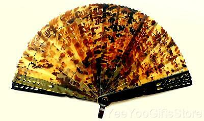 FINE & ANTIQUE European/Asian pierced FAUX TORTOISE shell brise FAN