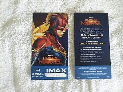 Captain Marvel Collectible Week 2 Regal IMAX Ticket # 7 of 1000 Brie Larson