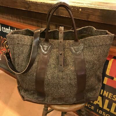 39c8ff709d RRL Tweed × Leather 2way Shoulder Tote Bag Made in Italy Fine Quality Y52