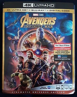 """AVENGERS INFINITY WAR"" 4K Ultra HD + Blu-Ray + Digital Code *New Factory Sealed"