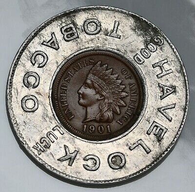 1901 US Indian Head Cent Good Luck Penny Havelock gEF Coin