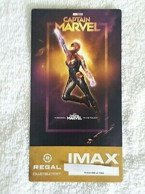 Captain Marvel Collectible Regal IMAX Ticket 999 of 1000 Brie Larson