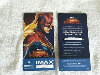 Captain Marvel Collectible Week 2 Regal IMAX Ticket # 99 of 1000 Brie Larson