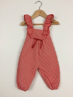 Vintage Evy Girls 12 months Overalls Pants Red White Stripe Candy Cane Christmas