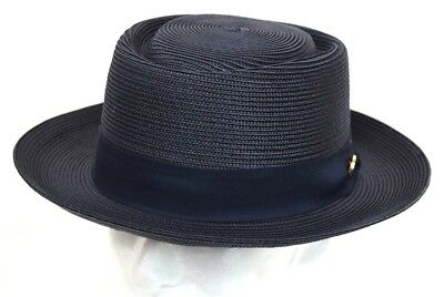 Men's Dress Casual Hat Summer Straw Pork Pie Navy Blue 100% Poly Braid MO-714