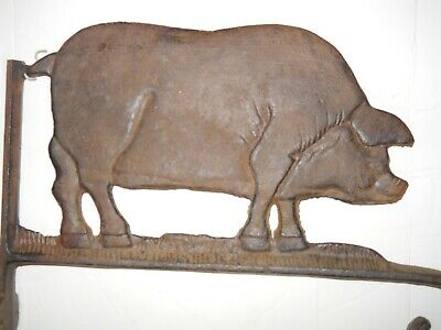ANTIQUE AMERICAN FOLK ART CAST IRON PIG DOUBLE-SIDED PLANT or CHIME HANGER