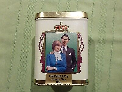 Prince Charles Lady Diana Spencer Marriage Souvenir Tin 29 July 1981 Tea Caddy