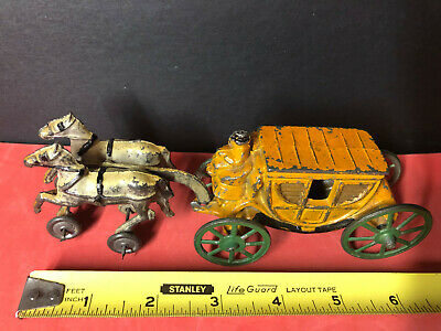 Antique Cast Iron White Horse & Stagecoach Yellow/green Vintage Hubley?