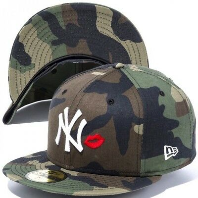 238471ccca5 NEW ERA 59FIFTY Cap Fitted New York Yankees Lip Embroidery Woodland Camo 7 1  2