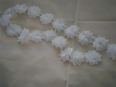 1 yd.QUALITY DOUBLE 5cm.. FLOWER EMBELLISHMENT SCRAPBOOKING CARD MAKING SEWING