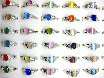 New wholesale lots 50pcs colourful natural cat eye gemstone stone silver P rings