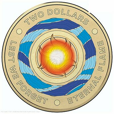 1 x BRAND NEW UNCIRCULATED $2 coin 2018 ** ETERNAL FLAME ** 🔥 Lest We Forget