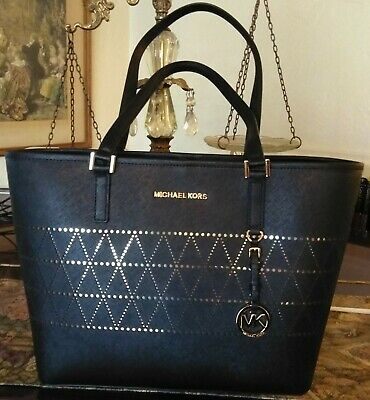 e7bff3a758a8 MICHAEL KORS Jet Set Travel MD Carryall Tote HandBag Black Leather $328