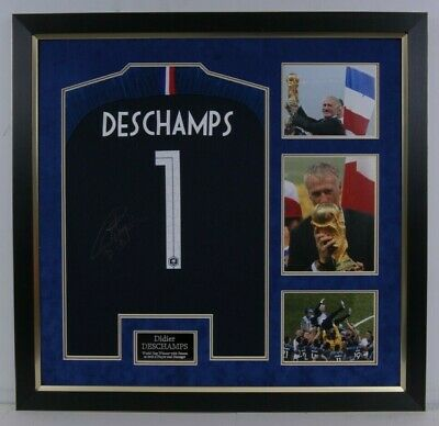 Didier Deschamps SIGNED & FRAMED 2018 WORLD CUP JERSEY France AFTAL COA (A)