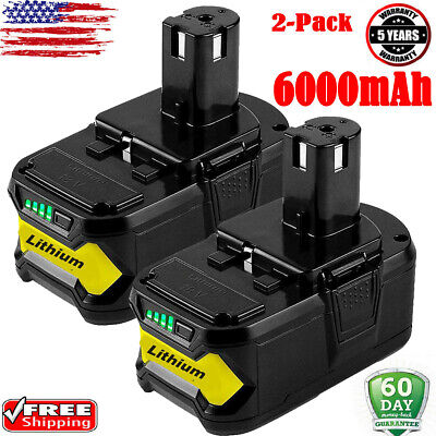 2XFor Ryobi P108 18V 6.0Ah Lithium Ion Battery Pack Replace P107 P105 P106 P104