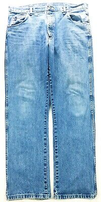 227cbbbd Wrangler 20X Mens Style 23 Distressed Blue Wash Relaxed Fit Straight Jeans  38X34
