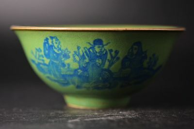 Rare Great Chinese Green Glaze Porcelain people Bowl