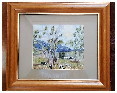 AUSTRALIAN Outback Landscape Wool Embroidered Hand Made Framed Tapestry