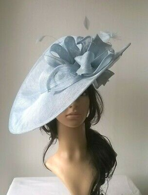 6aef64cf4ba8a PALE BLUE SINAMAY & feather Hatinator..hat.Large saucer disc  Wedding.races.ascot