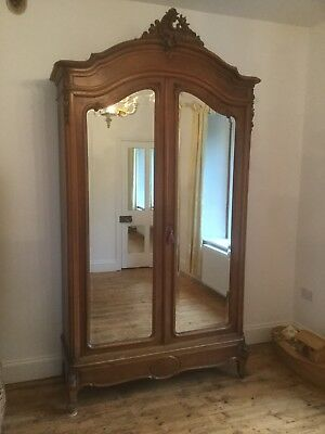 Antique French Armoire Knockdown Mirrored Wardrobe Sn-P