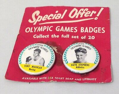 Vintage Olympic Games 1956 Promotional Buttons-x 2-Tony Madigan & Dave Stephens