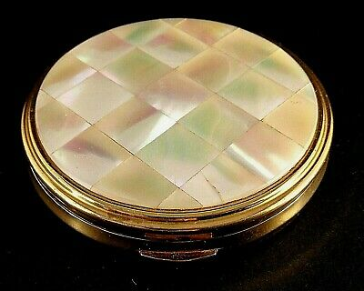 Vintage Kingu Mother Of Pearl/Gold Coloured Metal Compact-Made In England