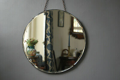 original  vintage art deco era bevel edged frameless wall mirror + chain hanger