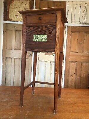 Antique French Art Nouveau Pitch Pine And Marble Nightstand Bedside Table Side