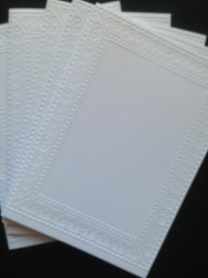 5 Embossed Blank A6 White Cards & Envelopes - Picture Frame