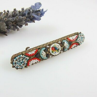 Antique Vintage Micro Mosaic Tiny Glass Tiles Brass Bar BROOCH 'C' Clasp