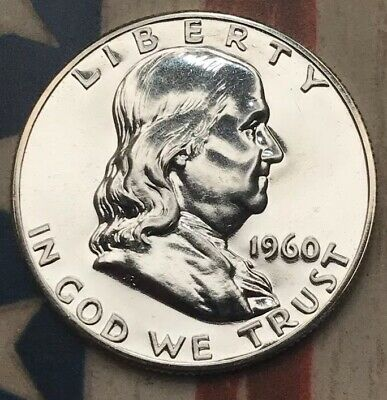 1960 50C Franklin Half Dollar 90% Silver Vintage US Coin #SD60 Beautiful BU