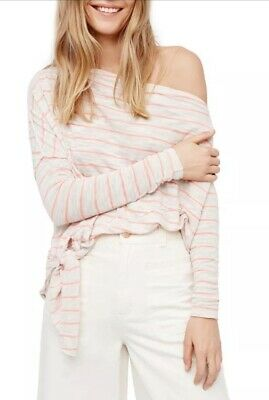 0d1ad1d5e2 FREE PEOPLE LOVE Lane Black and White Striped Oversized Knot Tee ...