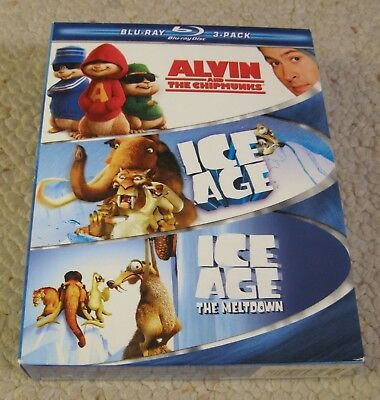 ALVIN & THE CHIPMUNKS/ICE AGE Family 3-Pack (Blu-ray, 2009, 3-Disc Set, WS)