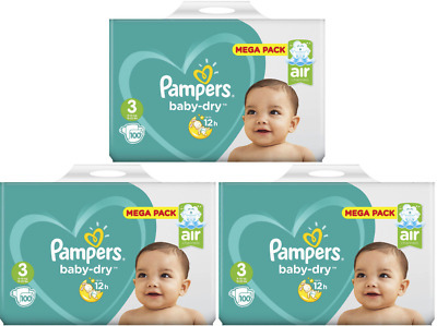 Lot 300 Couches PAMPERS BABY-DRY Taille 3 de 6 à 10kg Mega Pack