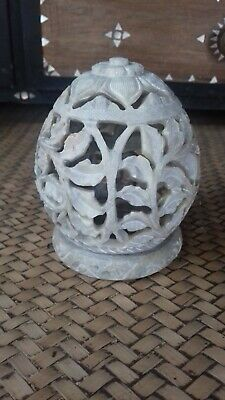 9 carved Soapstone egg shaped tea light holder wholesale job lot
