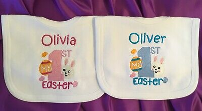 Personalised Baby Bib, My 1st Easter, First Easter, Bib, Any Name, Toddler, Baby