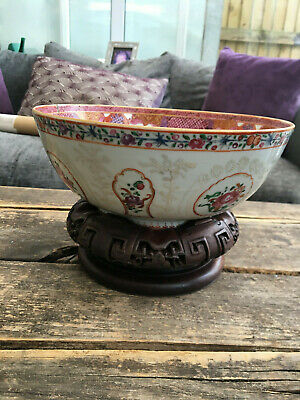 Chinese Export ware bowl enamelled late 18th century floral carved wooden stand