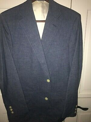 "J PRESS PATCH sport coat jacket 44 L wool striped 2-roll-2 Stitching 35"" sleeve"
