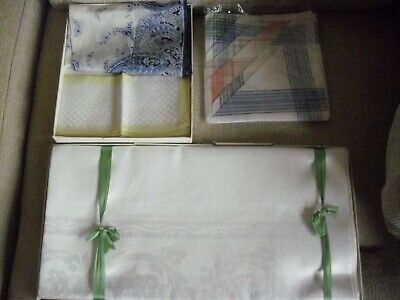 Vintage Irish Linen Table Cloth 60+ Years Old Unused + Vintage New Hanky Chiefs