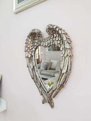 Large Vintage Antique Style Wall Mirror Ornate Shabby Chic Angel Wings Silver