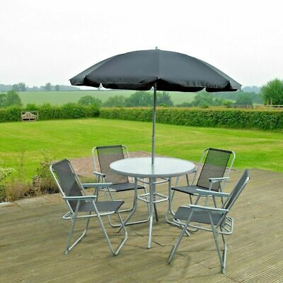 Garden Patio Furniture Set 4 Seater Dining Set Parasol Glass Table And Chairs