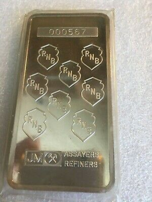 Johnson Matthey RNB 10 ounce bar, silver ingot  #000567 Republic National Bank