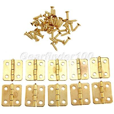 10/50pcs Gold Mini Hinge Jewellery Cigar Trinket Chest Box Tiny Cabinet Hinge UK