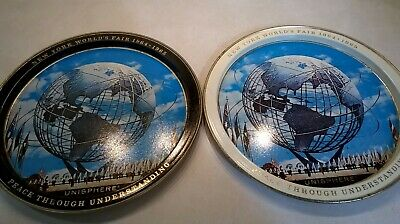 TWO 1964-1965 New York World's Fair Tin Tray Unisphere UNITED STATES STEEL USS