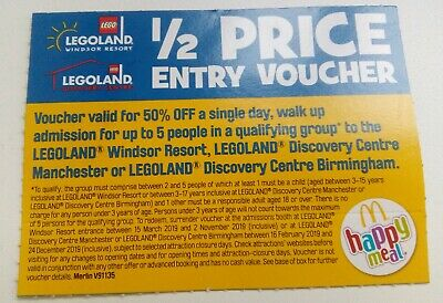 Legoland 1/2 Half Price 50% Entry Voucher for up to 5 People. Windsor, Discovery