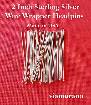 "Wire Wrapper Headpins 2"" 24 Gauge Sterling Silver Flat Head (Pack of 50)"