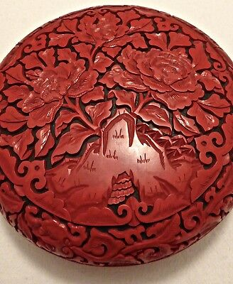 Rotlack China Chinalack Dose groß rot schwarz Chinese Red Lacquer Cinnabar XL