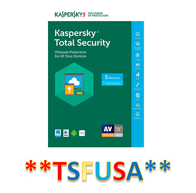 NEW Kaspersky Total Security 5 Devices 1 Year - RETAIL KEY CARD