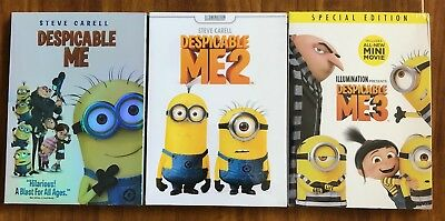 Despicable Me 1, 2, 3 Trilogy Brand New 3-DVD Combo Set Free Shipping