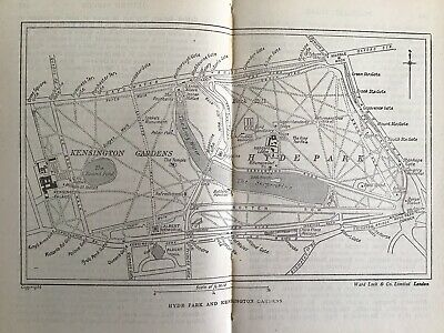 London Hyde Park, Kensington 1953 Original Vintage Map England, John Bartholomew